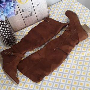 Merona over the knee suede cognac/tarin boots